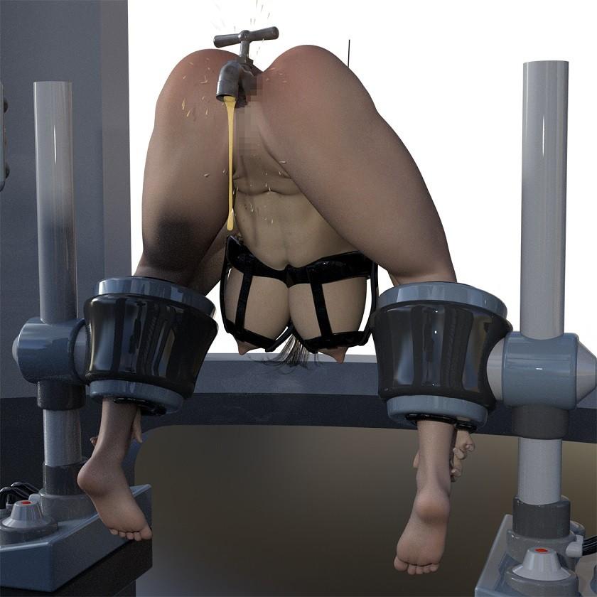 SF器具に拘束され、蛇口浣腸・レーザー調教されるムチムチ巨乳美女